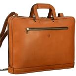 Hand-burnished-chestnut-Platform-Portfolio-with-shoulder-strap-and-open-back-pocket;-17-x-12-x-4'