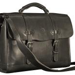 Hand-burnished-black-Headhunter-Flaptop-Bag;-16-x-12-x-4'