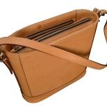 Hand-burnished-natural-leather-Shoulder-Bag-with-short-shoulder-strap-and-magenta-lining;-10-x-10-x-3'-topdown1