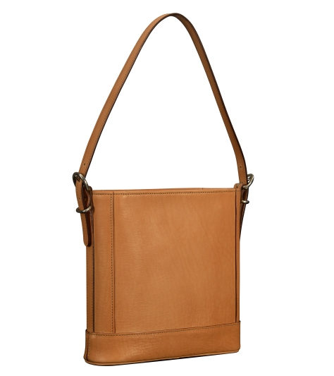Hand-burnished-natural-leather-Shoulder-Bag-with-short-shoulder-strap-and-magenta-lining;-10-x-10-x-3'