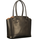 """Hand-burnished-black-City-Tote-with-hand-grained-natural-trim-and-royal-blue-grosgrain-lining;-14-x-11-x-6"""""""