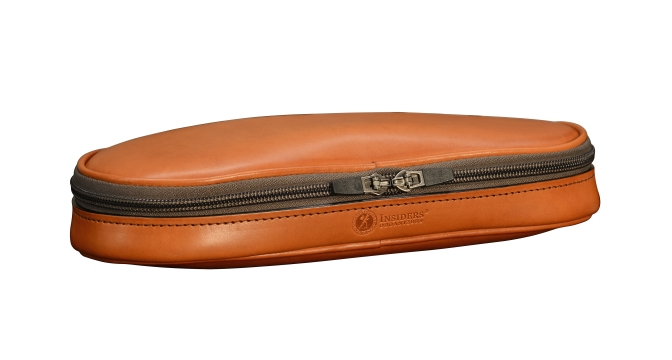 Hand-burnished-chestnut-all-leather-Cord-Otganizer;-4-x-11-x-2-topdown