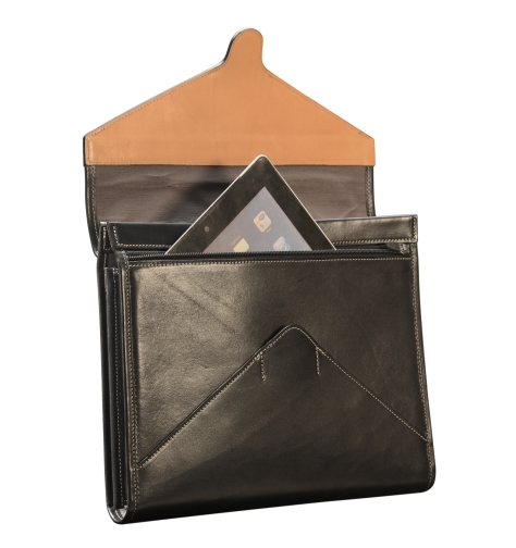 Hand-burnished-black-Letter-Size-Flapover-Folderholder-with-warm-gray-lining-and-natural-leather-trim-open