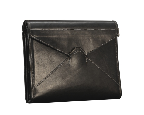 Hand-burnished-black-Letter-Size-Flapover-Folderholder-with-warm-gray-lining-and-natural-leather-trim