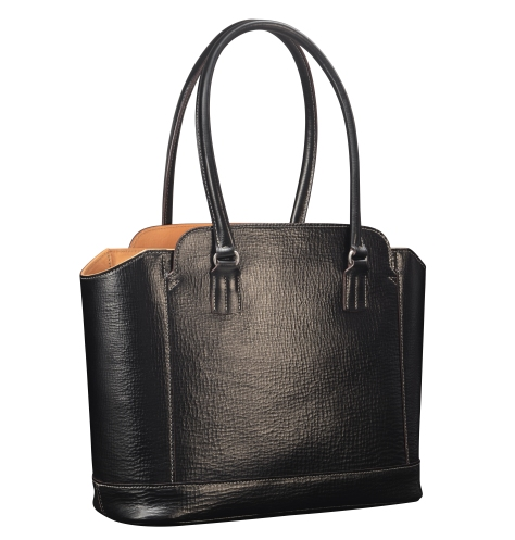 Hand-grained,-hand-colored-black-City-Tote-with-natural-leather-trim-and-crimson-red-lining;-14-x-11-x-4