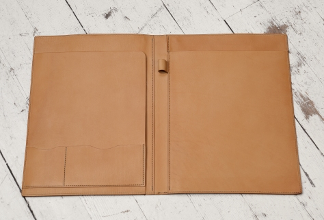 Hand-grained,-hand-colored-sienna-all-leather-Writing-Pad-topdown