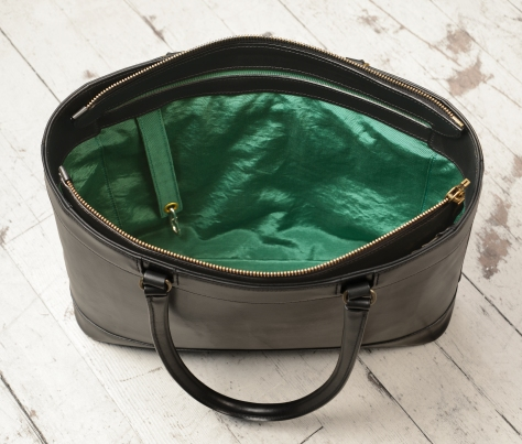 Hand-burnished-black-Business-Tote-with-long-handles-and-forest-green-lining;-17-x-13-x-4-topdown