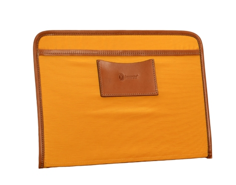Hand-burnished-chestnut-Padded-Panel-with-cadmium-yellow-lining,-eye-glasses-holder-and-shirt-pocket-organizer-back