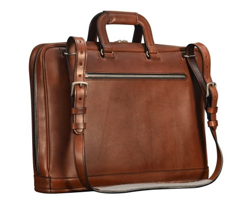 Hand-burnished-espresso-Platform-Portfolio-with-zip-back-pocket-and-shoulder-strap;-17-x-12-x-4-back