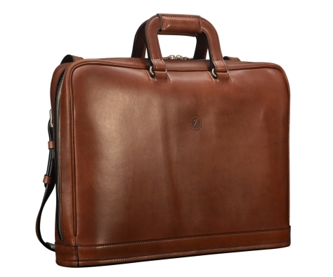 Hand-burnished-espresso-Platform-Portfolio-with-zip-back-pocket-and-shoulder-strap;-17-x-12-x-4