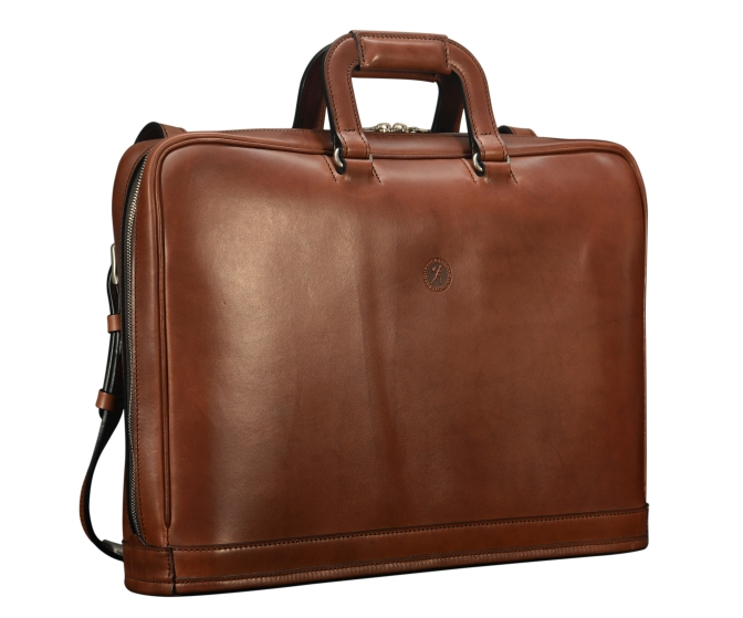 Hand-burnished-espresso-Platform-Portfolio-with-zip-back-pocket-and-shoulder-strap;-17-x-12-x-4