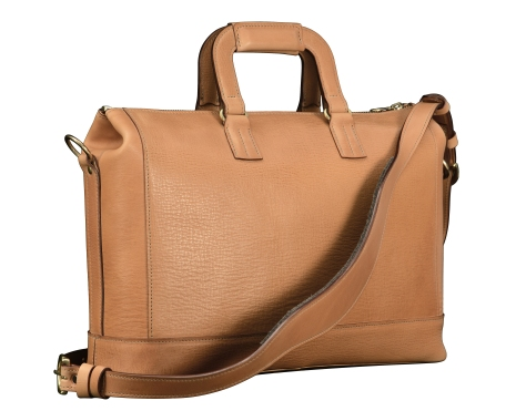 Hand-grained-natural-leather-Club-Bag-with-tangerine-grosgrain-lining;-16-x-10-x-4-back