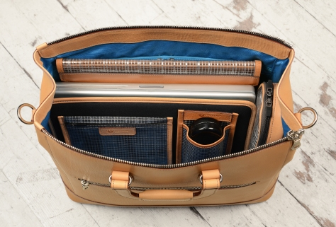 Natural-leather-Club-Bag-with-California-blue-lining-and-square-handles;-16-x-9.5-x-6-topdown1