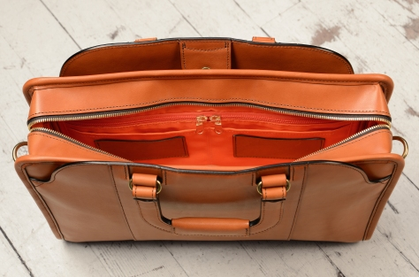 Hand-burnished-chestnut-Day-Bag-with-tangerine-grosgrain-lining;-16-x-11-x-4-topdown