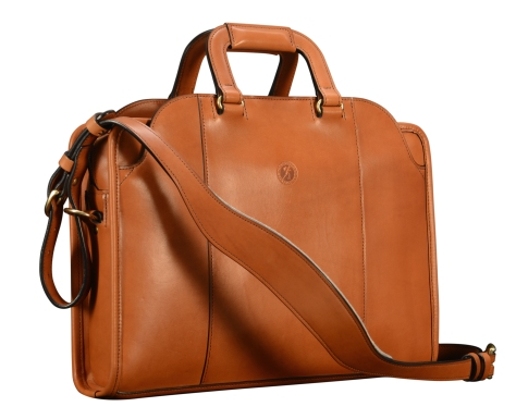 Hand-burnished-chestnut-Day-Bag-with-tangerine-grosgrain-lining;-16-x-11-x-4