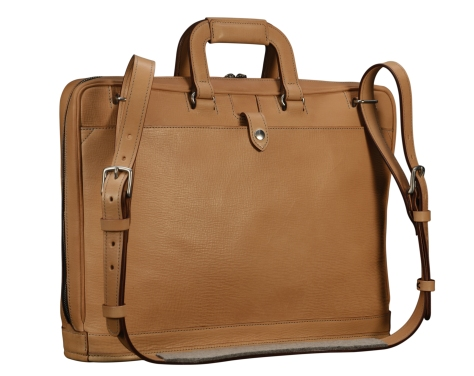 Natural-leather-Platform-Portfolio-with-open-back-pocket-and-shoulder-strap;-17-x-12-x-4-back
