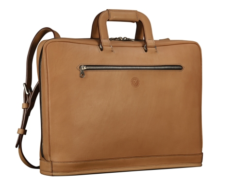 Natural-leather-Platform-Portfolio-with-open-back-pocket-and-shoulder-strap;-17-x-12-x-4